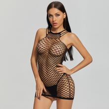 Fishnet Cut-out Sheer Dress