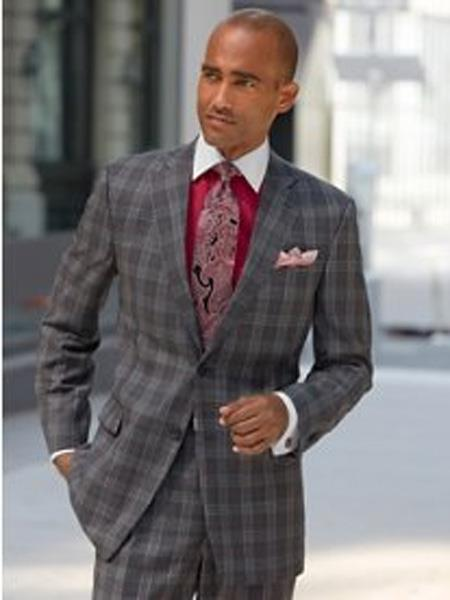 Mens Charcoal Grey ~ Gray Plaid ~ Windowpane Suit Separates Sale