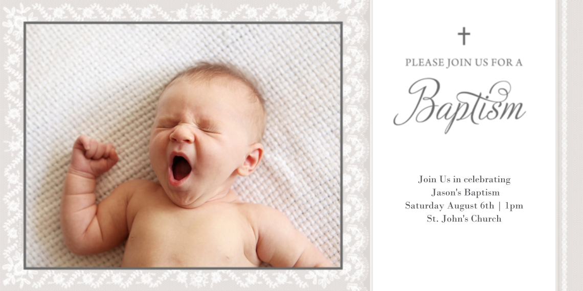 Baptism Invitations Flat Glossy Photo Paper Cards with Envelopes, 4x8, Card & Stationery -Baptism Invitation