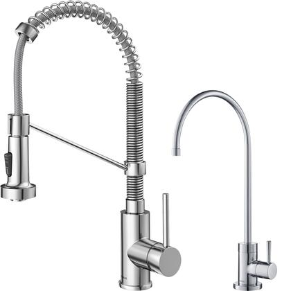 KPF-1610-FF-100CH KRAUS Bolden    Commercial Style Pull-Down Kitchen Faucet and Purita    Water Filter Faucet Combo in