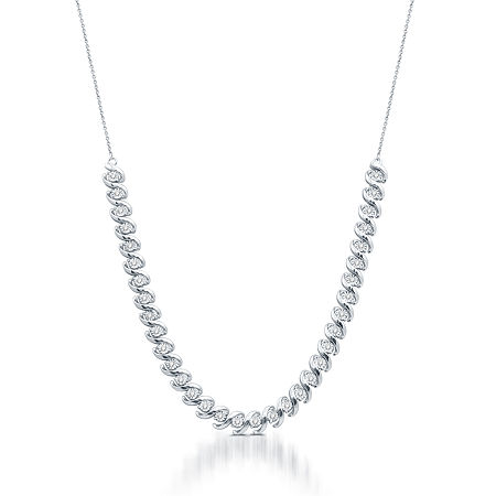Womens 1/2 CT. T.W. Genuine White Diamond Sterling Silver Tennis Necklaces, One Size , No Color Family