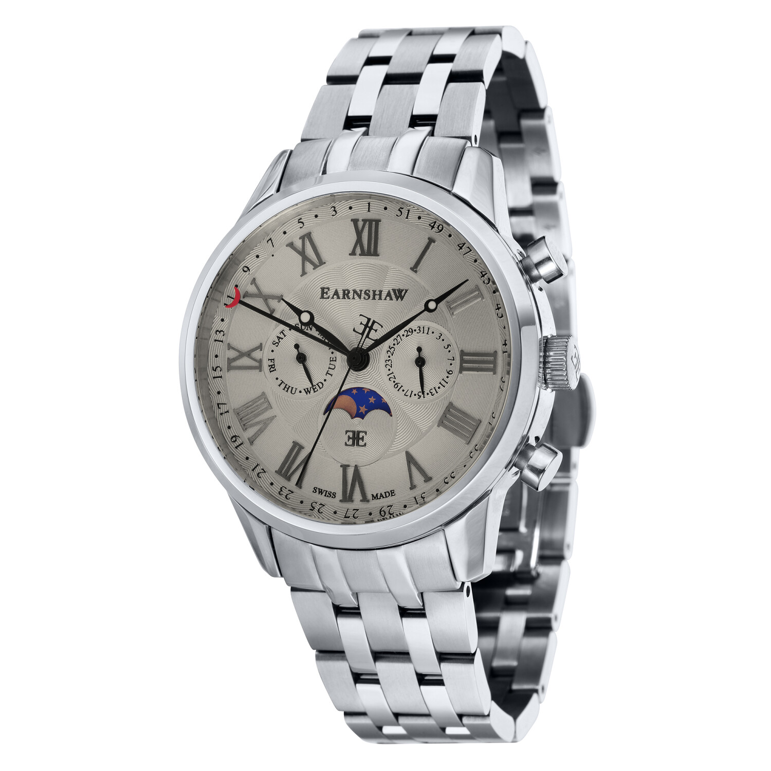 Thomas Earnshaw Men's Officer ES-0017-22 Grey Stainless-Steel Swiss Multifunction Dress Watch