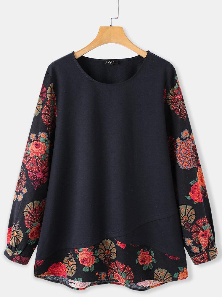 Vintage Flower Printed Long Sleeve O-neck Patchwork Asymmetrical T-shirt For Women