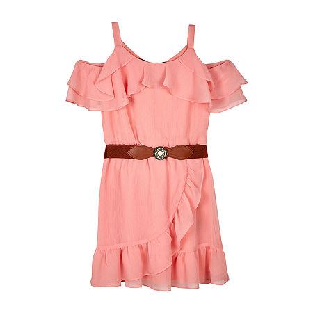 by&by girl Big Girl Short Sleeve Cold Shoulder Sleeve Sundress, 20.5 Plus , Orange