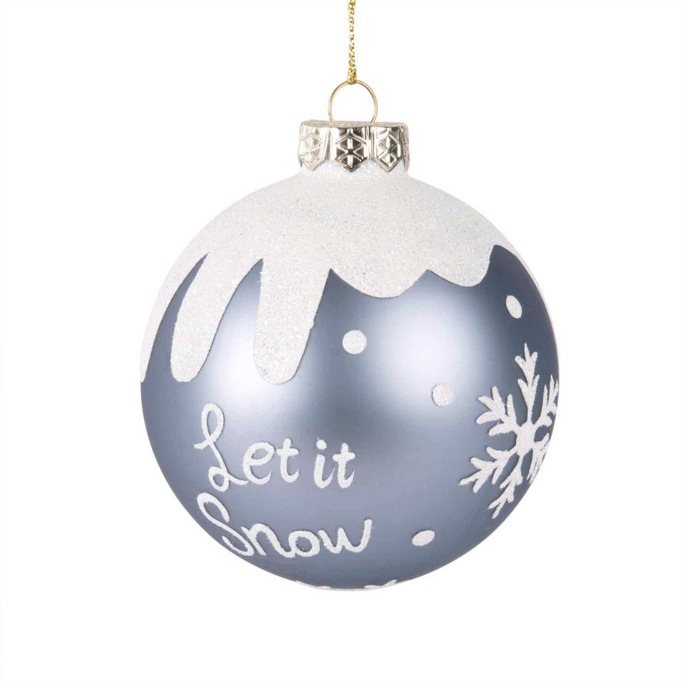 Weihnachtskugel aus blauem irisierendem Glas mit verschneiten Motiven