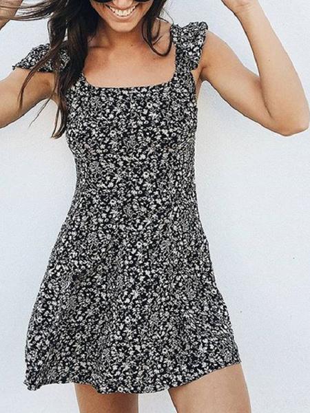 Milanoo Vestido de verano Vestido de playa corto sin espalda con cuello cuadrado estampado floral Ditsy