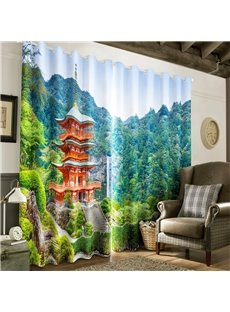 3D Pavilion in the Thick Forest Printed 2 Panels Living Room Custom Curtain
