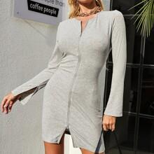 Zipper Front Split Cuff Rib-knit Bodycon Dress