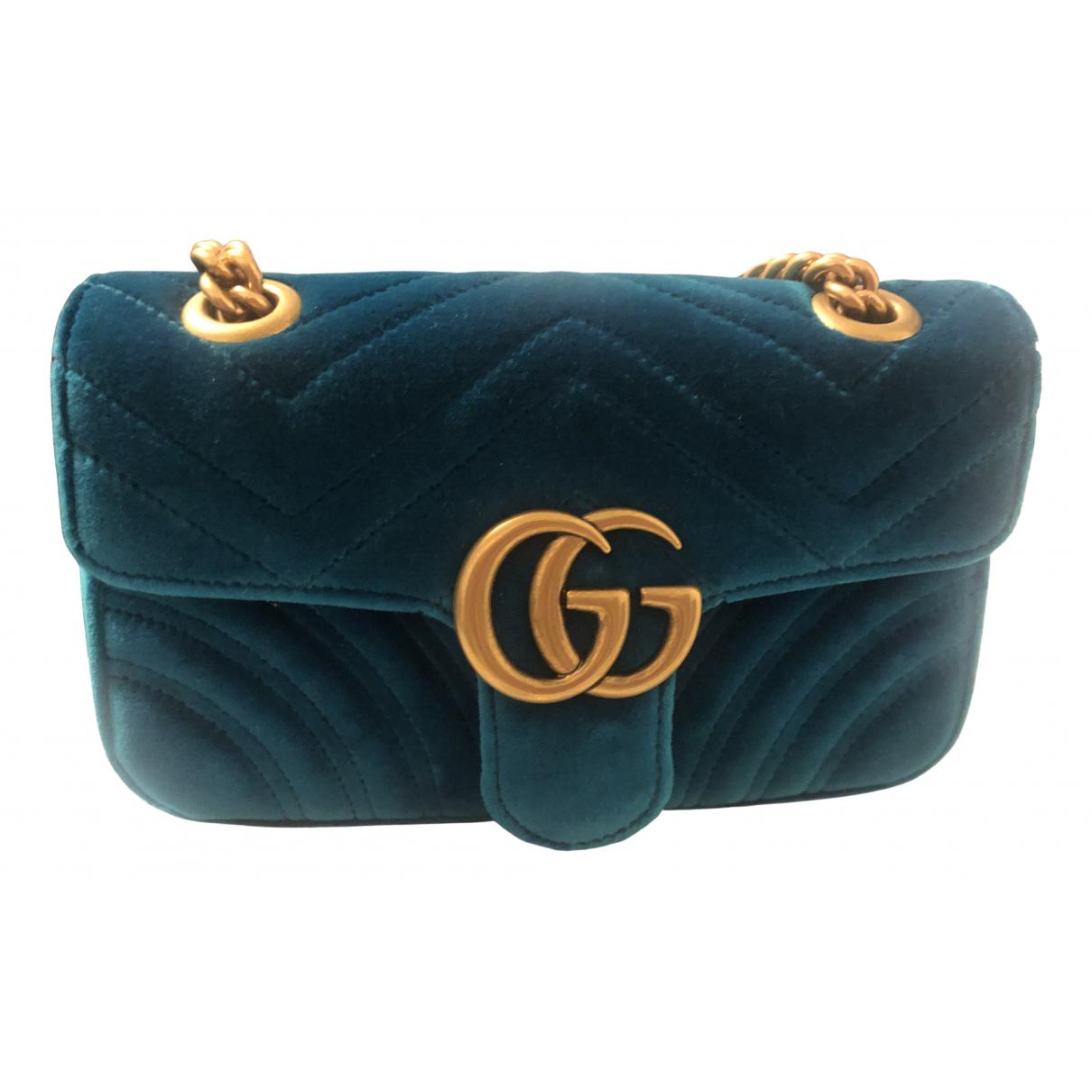 Gucci Marmont Blue Velvet handbag for Women N