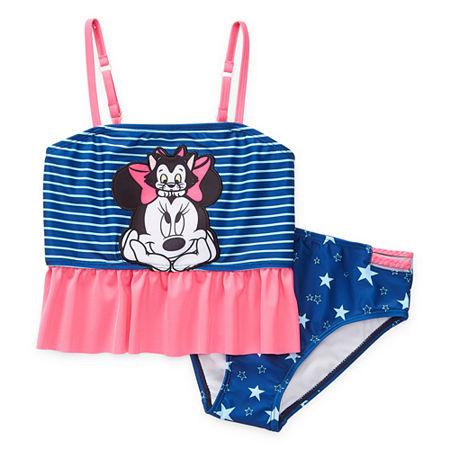 Disney Collection Little & Big Girls Minnie Mouse Tankini Set, 3 , Blue