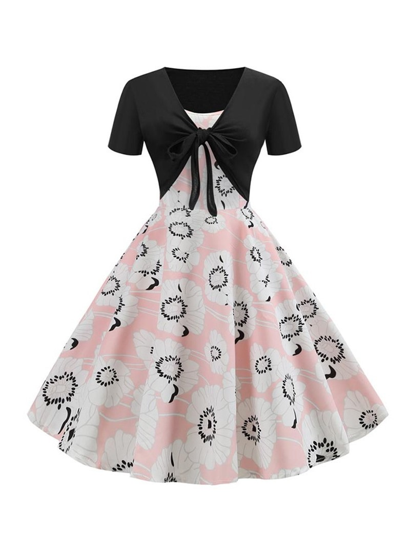 Ericdress Patchwork V-Neck Print Mid Waist A-Line Dress