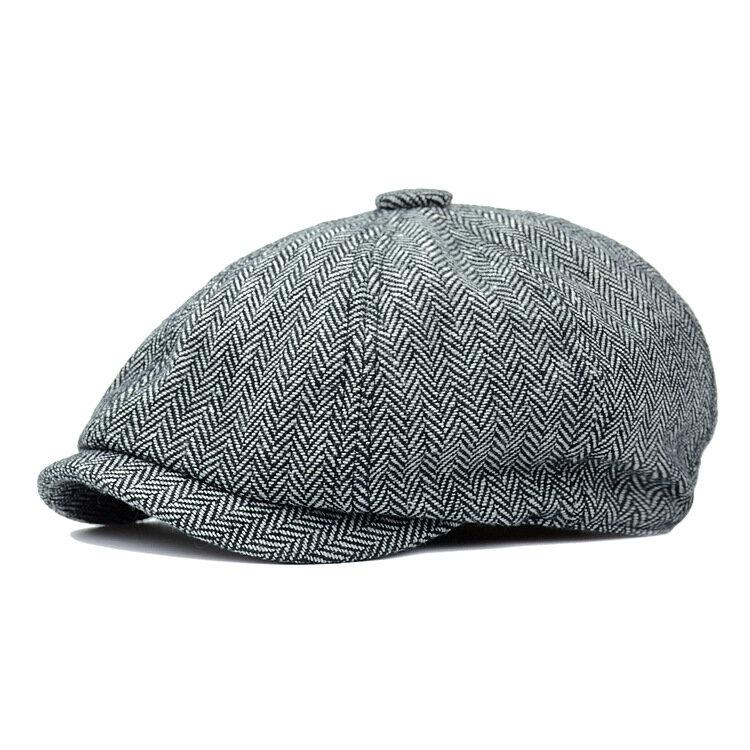 Octagonal Hat Men's Woolen Duck Tongue Beret Foreign Trade Autumn And Winter Painter Hat Newsboy Hat Spring