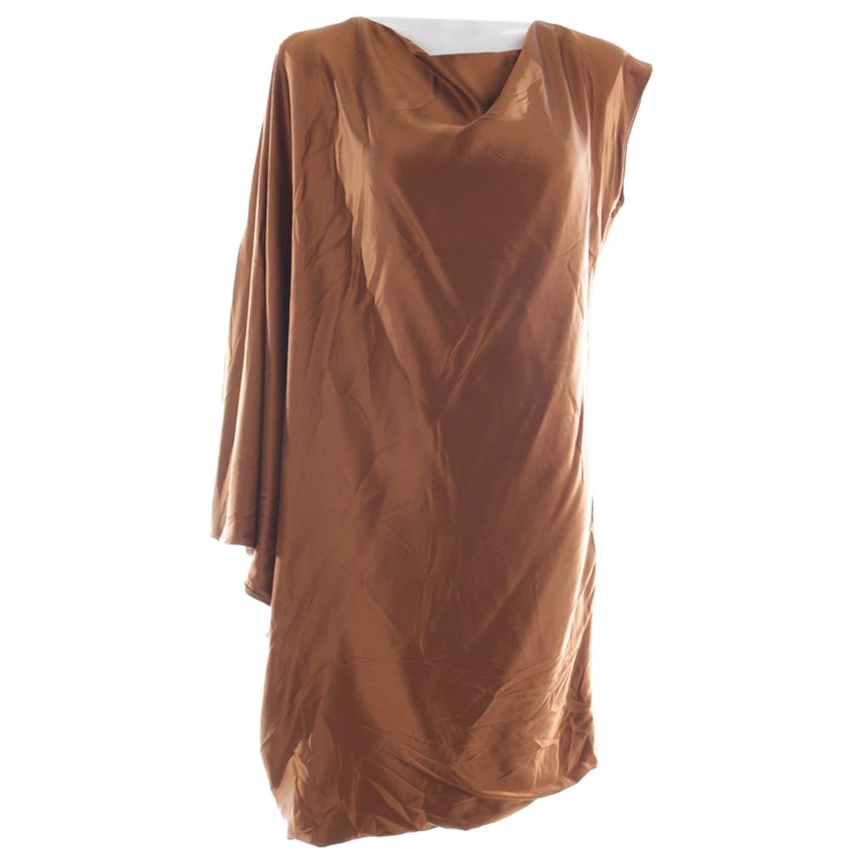 Halston Heritage - Robe   pour femme en soie - marron