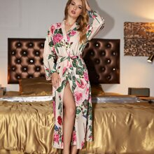 Floral Print Belted Night Robe