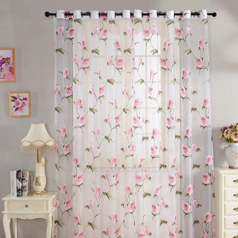 Elegant Flowers Print 2 Panels Living Room Custom Rod Pocket Sheer Curtains