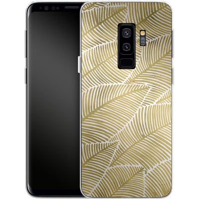 Samsung Galaxy S9 Plus Silikon Handyhuelle - Tropical Leaves Gold von Cat Coquillette
