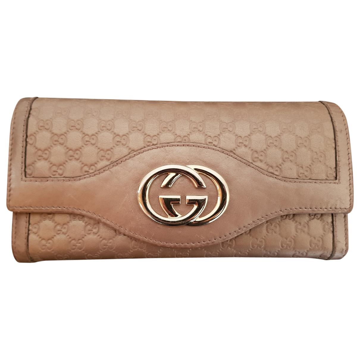 Gucci - Portefeuille Continental pour femme en cuir - rose