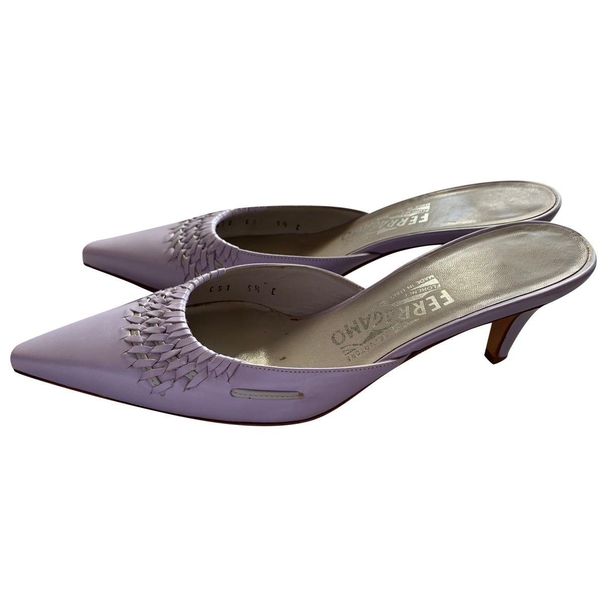 Salvatore Ferragamo \N Purple Leather Sandals for Women 5.5 US