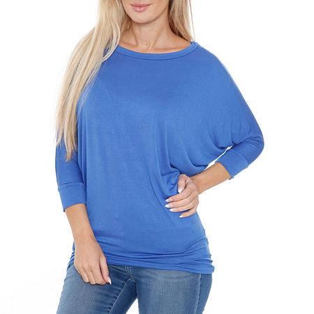 White Mark-Womens Boat Neck 3/4 Sleeve T-Shirt, X-large , Blue