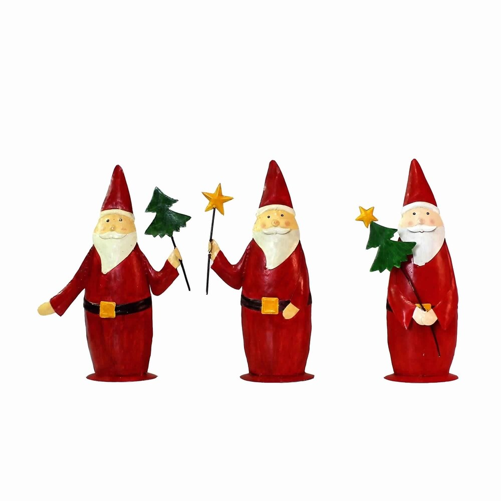 Modern Style Painted Metal Santa Trio with Star Wands, Red and White (Red)