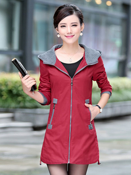 Milanoo Hooded Trench Coat Full Zip Long Sleeve Windbreaker With Pockets