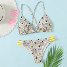 Bee & Floral Ladder Cut-out Bikini Swimsuit