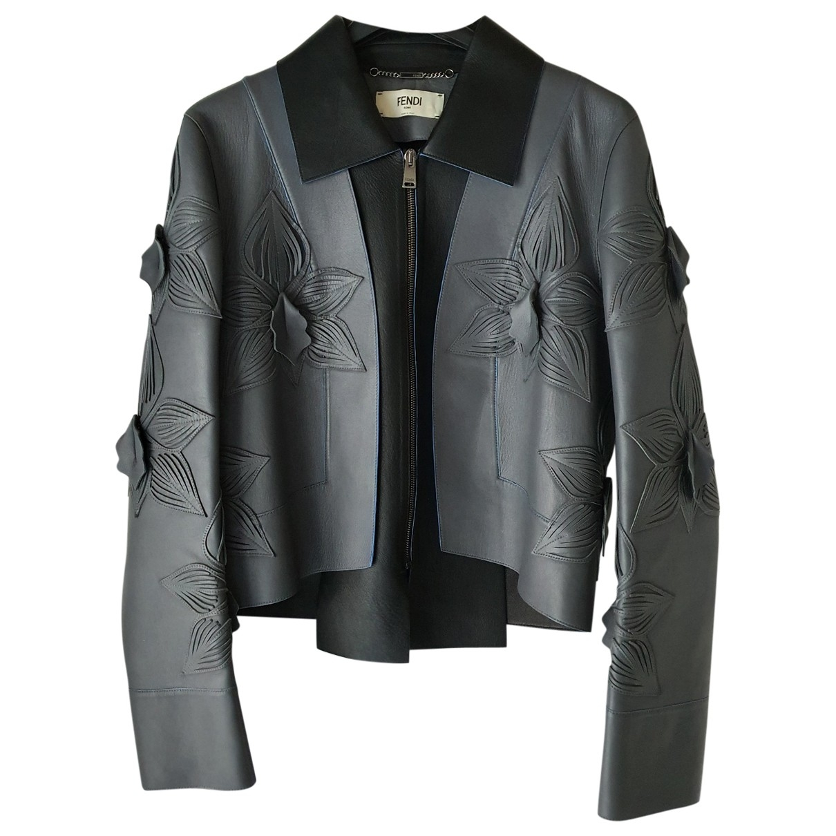Fendi \N Grey Leather jacket for Women 42 IT