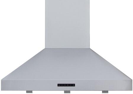 RA-7636SS 36 Island Mount Chimney Style Hood with 570 CFM Blower  LED Lights  3 Speed Blower  and Delay Shut-Off  in Stainless