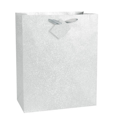 Silver Glitter Large Gift Bag, 13 x 10.5 x 5.5 in, 1ct