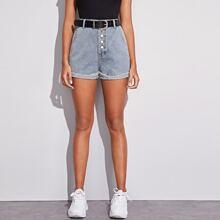 Shorts denim con cinturon bajo de doblez
