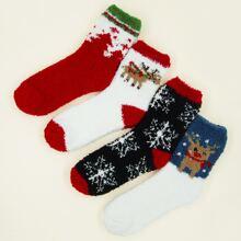 4 pares calcetines mullidos de navidad