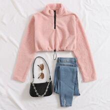 Reissverschluss  Einfarbig Laessig Sweatshirts