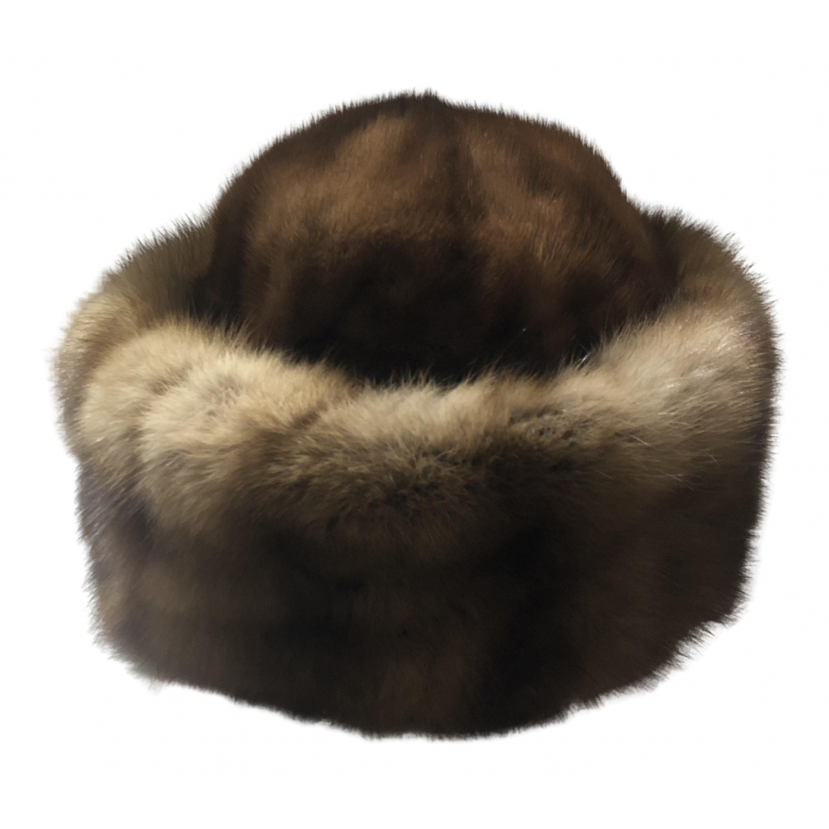Non Signé / Unsigned N Camel Mink hat for Women 59 cm
