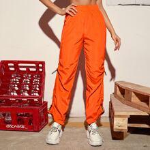 Neon Orange Drawstring Side Wind Pants