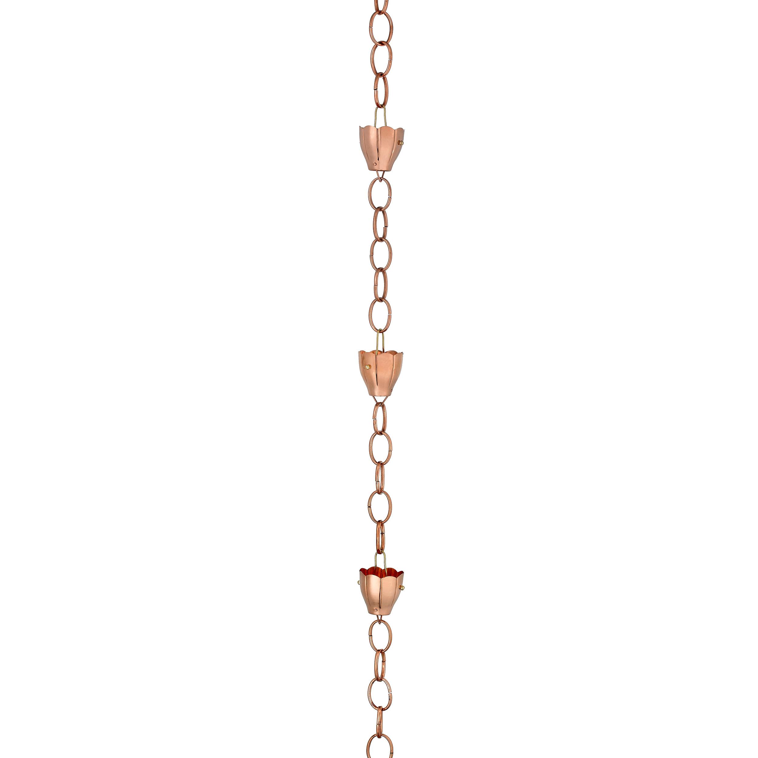 Crocus Rain Chain ? Polished Copper