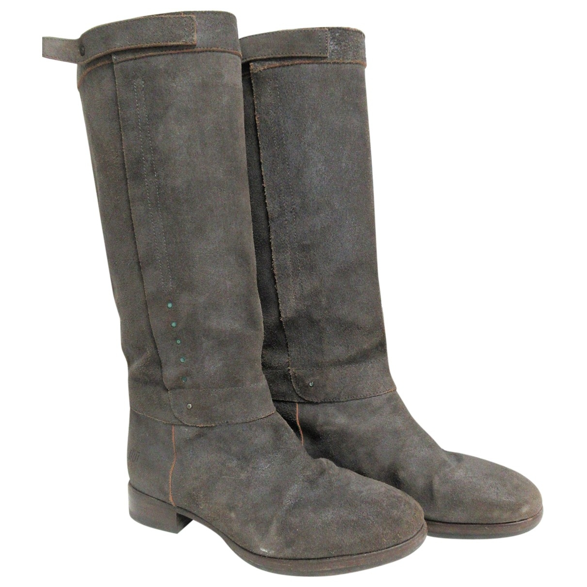 Non Signe / Unsigned \N Stiefel in  Grau Leder