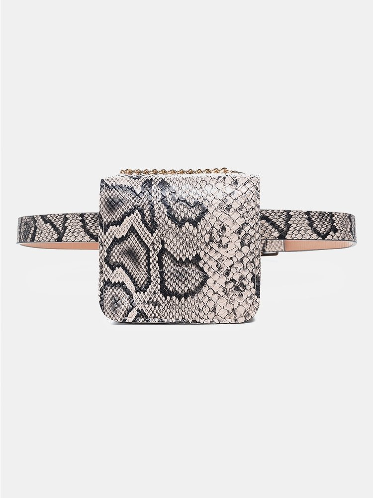 Women Crocodile Pattern Cossbody Bag PU Waist Pack