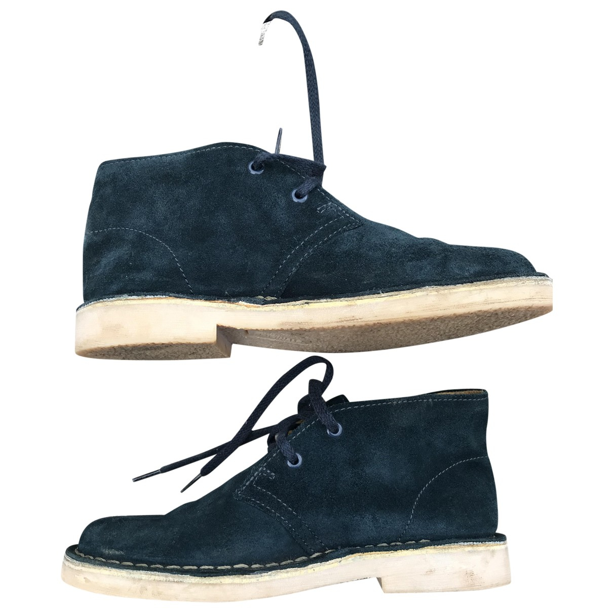 Clarks N Navy Suede Lace up boots for Kids 12.5 UK