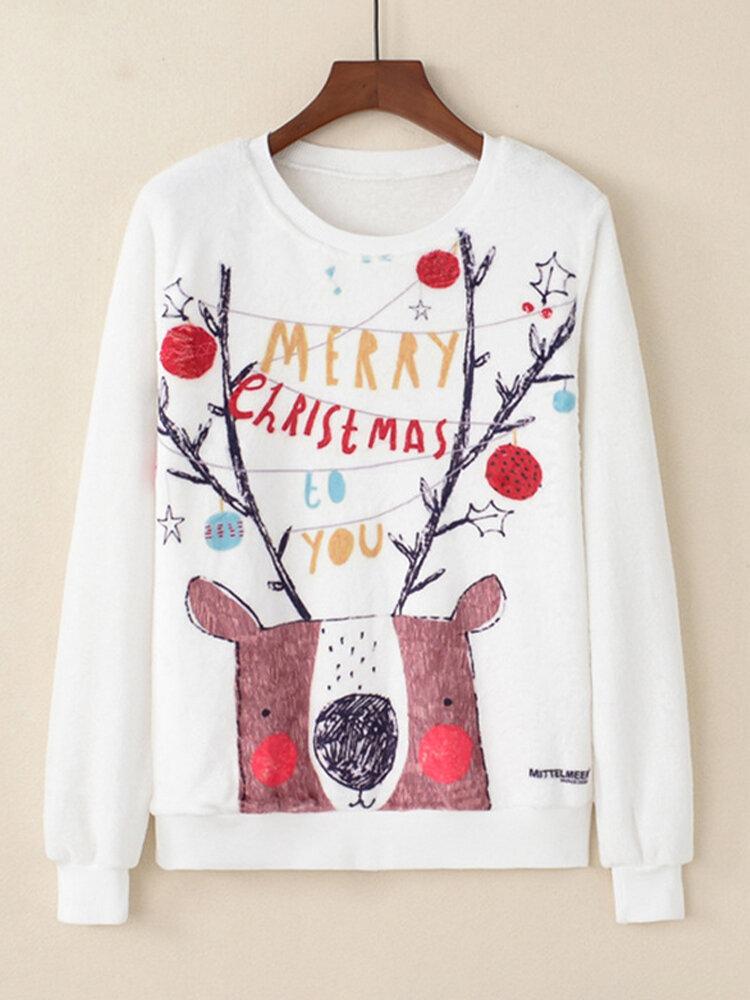 Cartoon Print Long Sleeves O-neck Coral Fleece Casual Sweatshirt