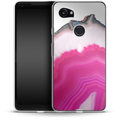 Google Pixel 2 XL Silikon Handyhuelle - Pink Agate Slice von Emanuela Carratoni
