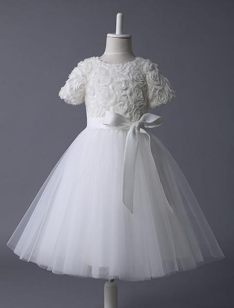 Milanoo Vestidos de Floristas de marfil vestido de encaje tutu cinta del arco del medio manga vestidos de fiesta cortos de los cabritos