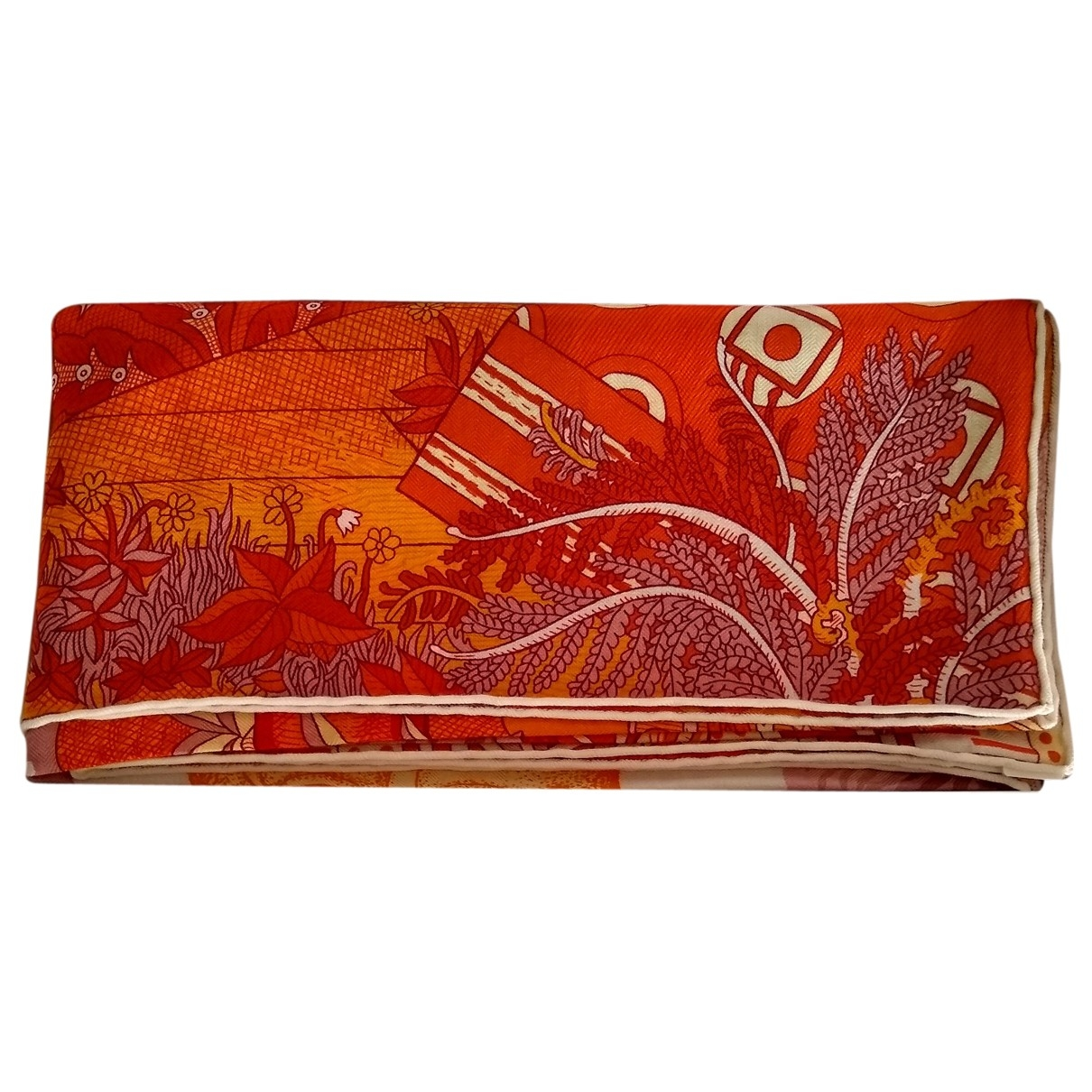 Hermes Chale 140 Schal in  Orange Kaschmir