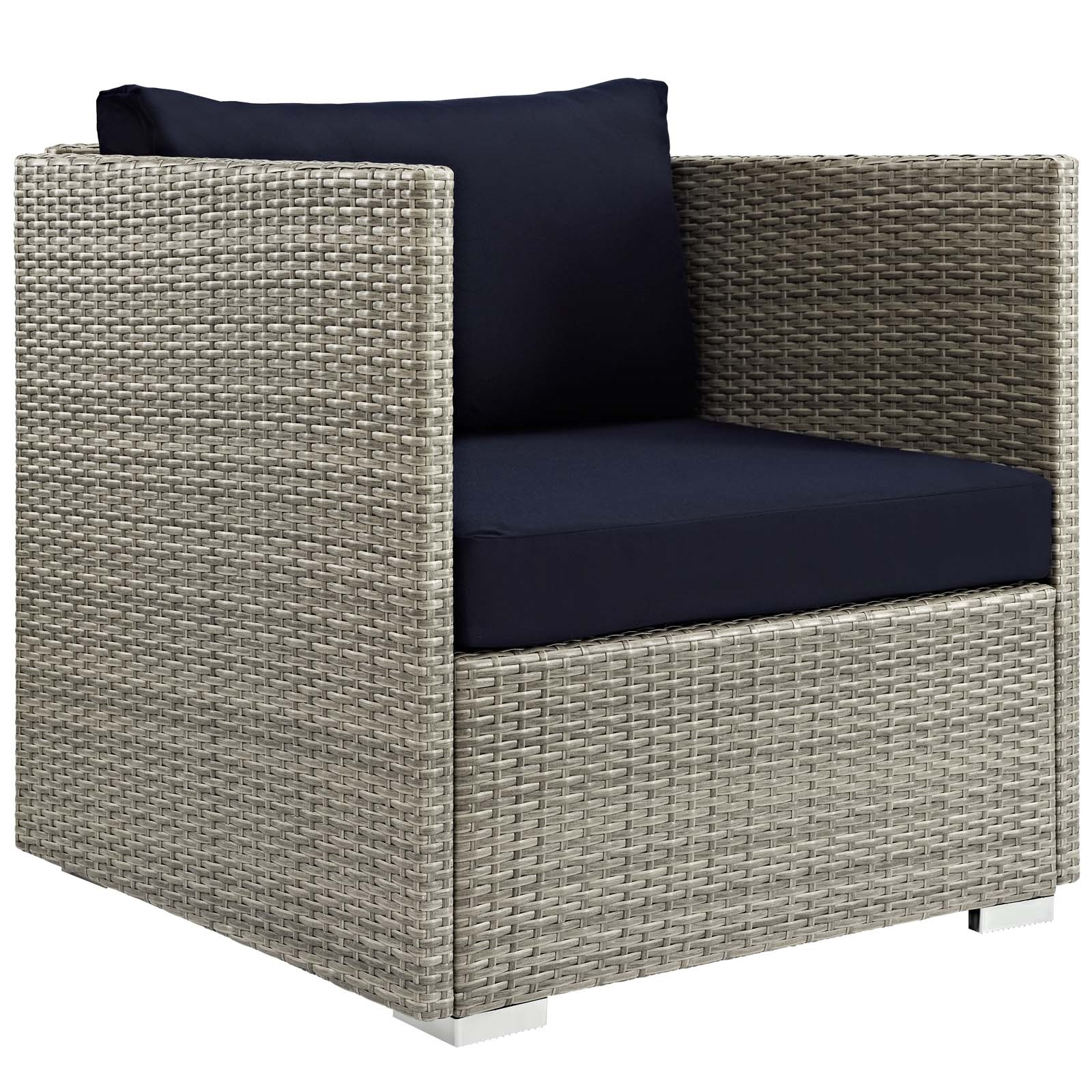 Repose Sunbrella® Fabric Outdoor Patio Armchair in Light Gray Navy
