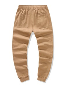 Pantalones de cintura con cordon con bolsillo oblicuo