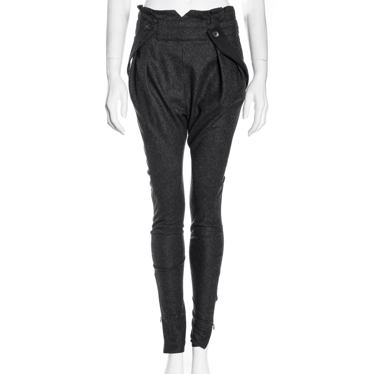 Balenciaga \N Anthracite Wool Trousers for Women 38 FR