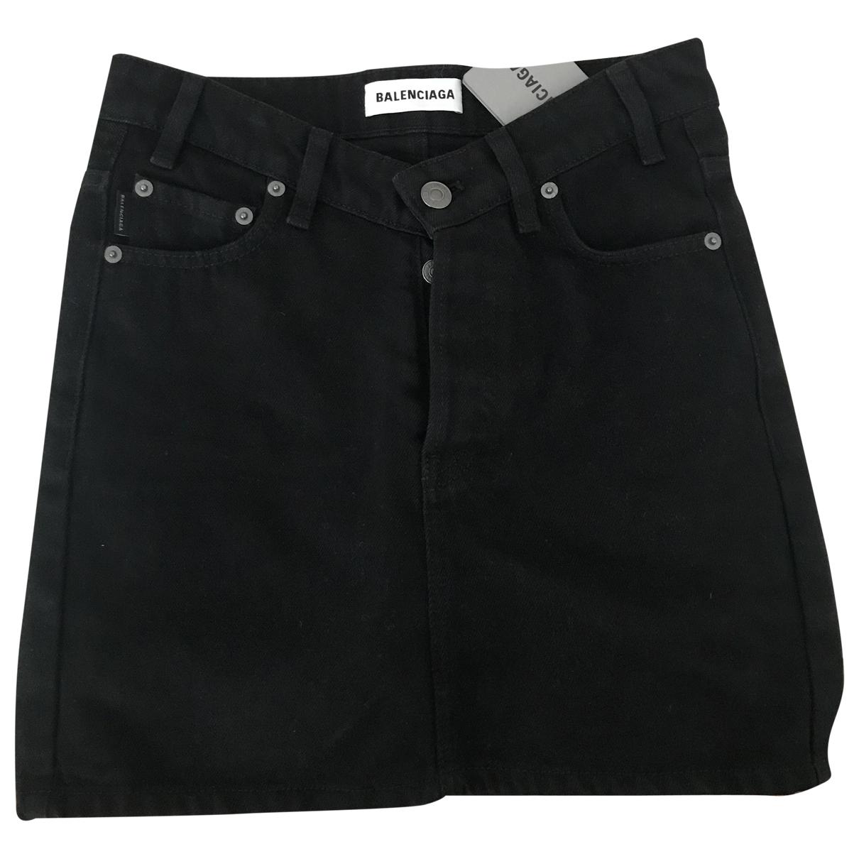 Balenciaga - Jupe   pour femme en denim - noir