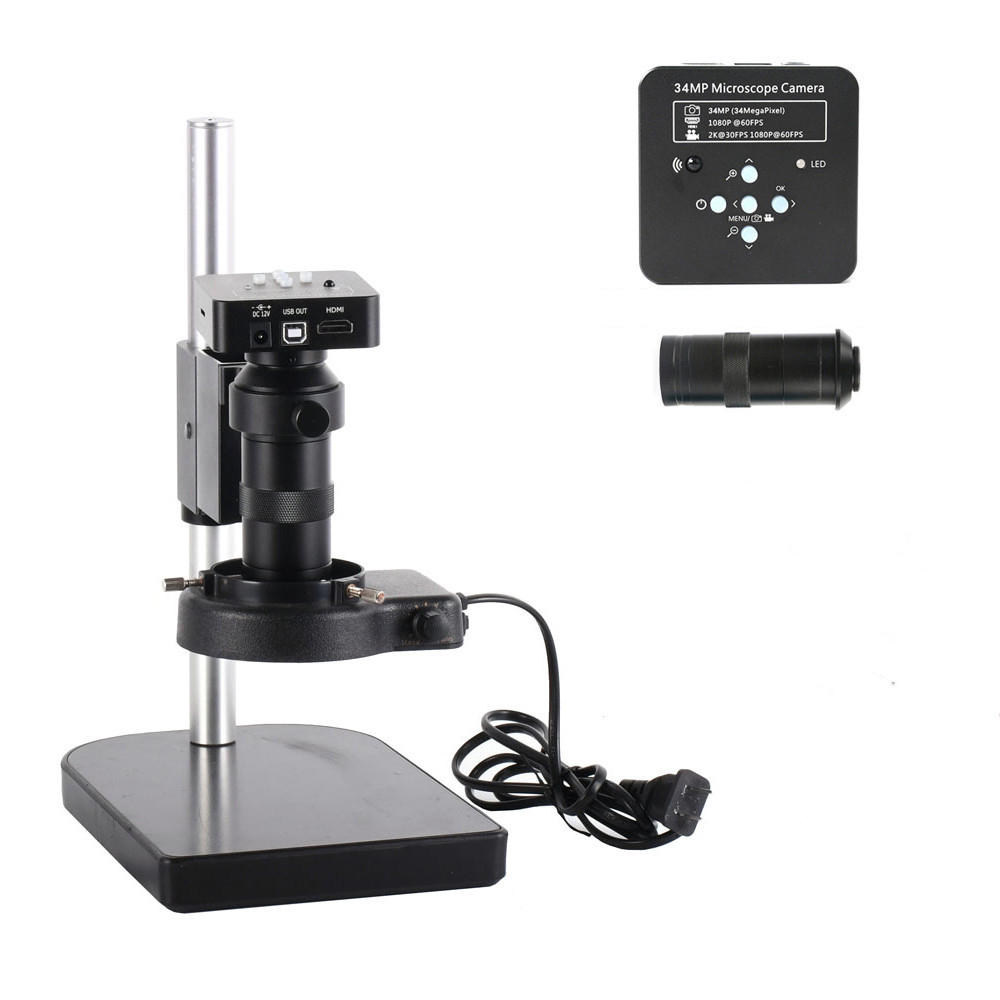 HAYEAR Full Set 34MP 2KIndustrial Microscope Camera HDMI USB Outputs 100X C-mount Lens 60 LED Light Video Recorder For P