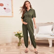 Maternity Collared Buttoned Front Self Belted Shirred Hem Jumpsuit