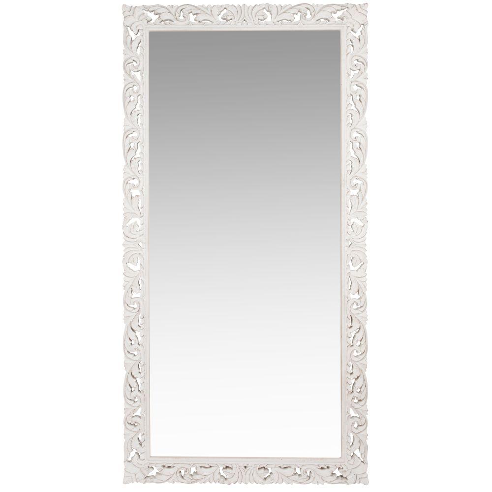Spiegel mit geschnitztem weissem Mangoholzrahmen 90x180