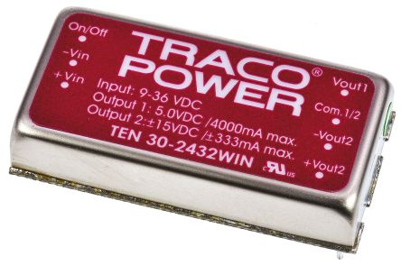 TRACOPOWER TEN 30WIN 30W Isolated DC-DC Converter Through Hole, Voltage in 9 → 36 V dc, Voltage out 5 V dc, ±15